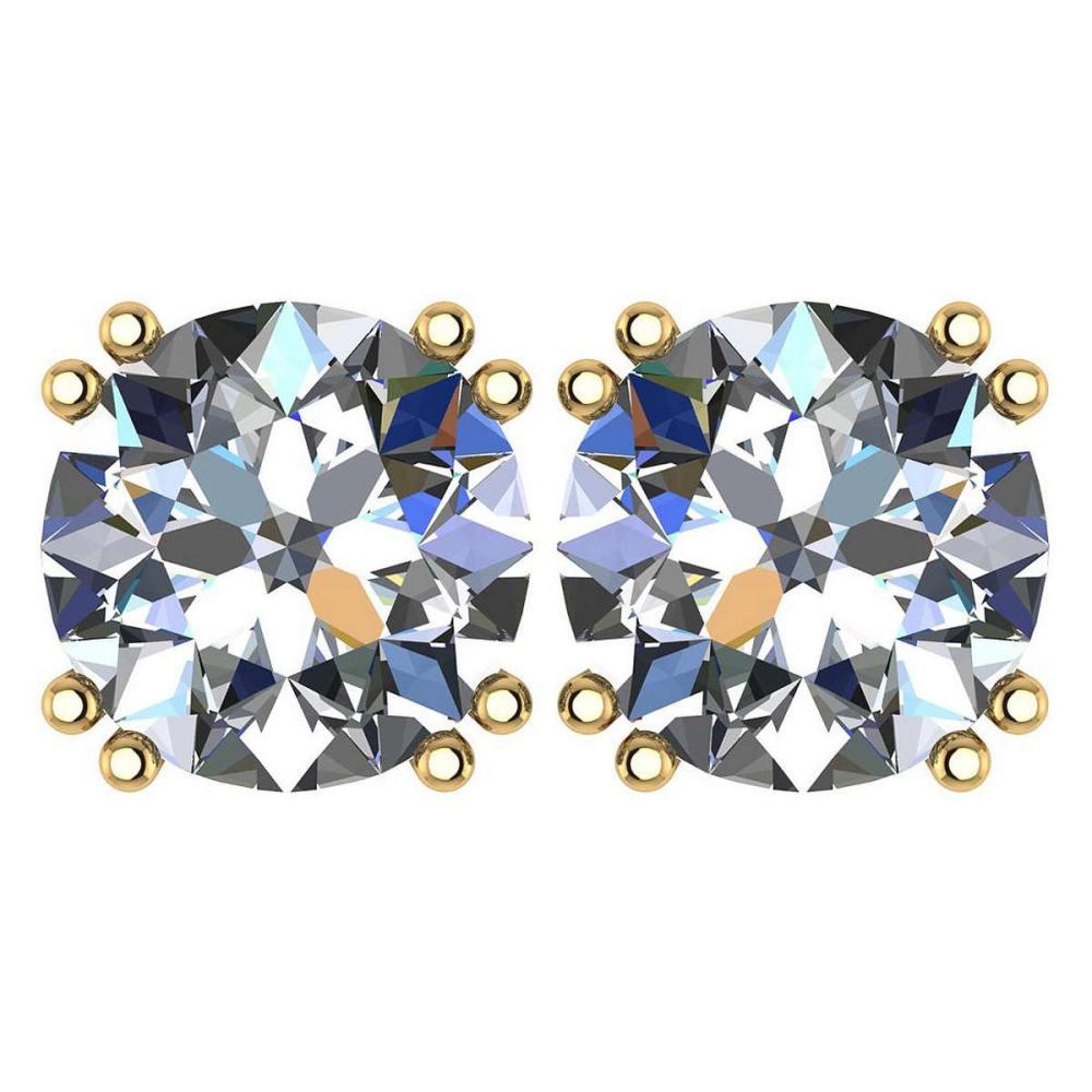 Certified 2.00 Ctw Diamond 14K Yellow Gold Stud Earring #1AC97365