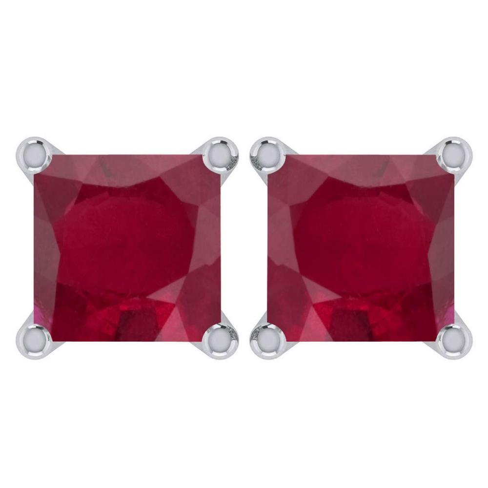 Certified 6.00Ctw Genuine Ruby 14K White Gold Stud Earrings #1AC97150