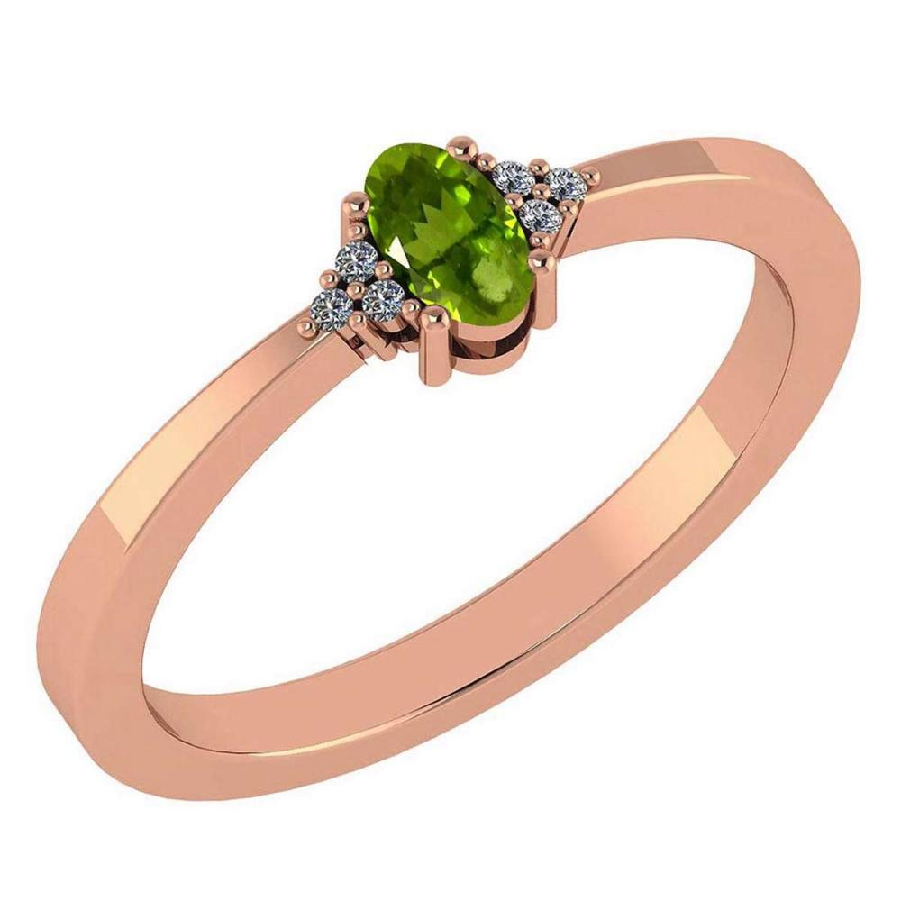 Certified 0.24 Ctw Peridot And Diamond 18K Rose Gold Halo Ring #1AC99198