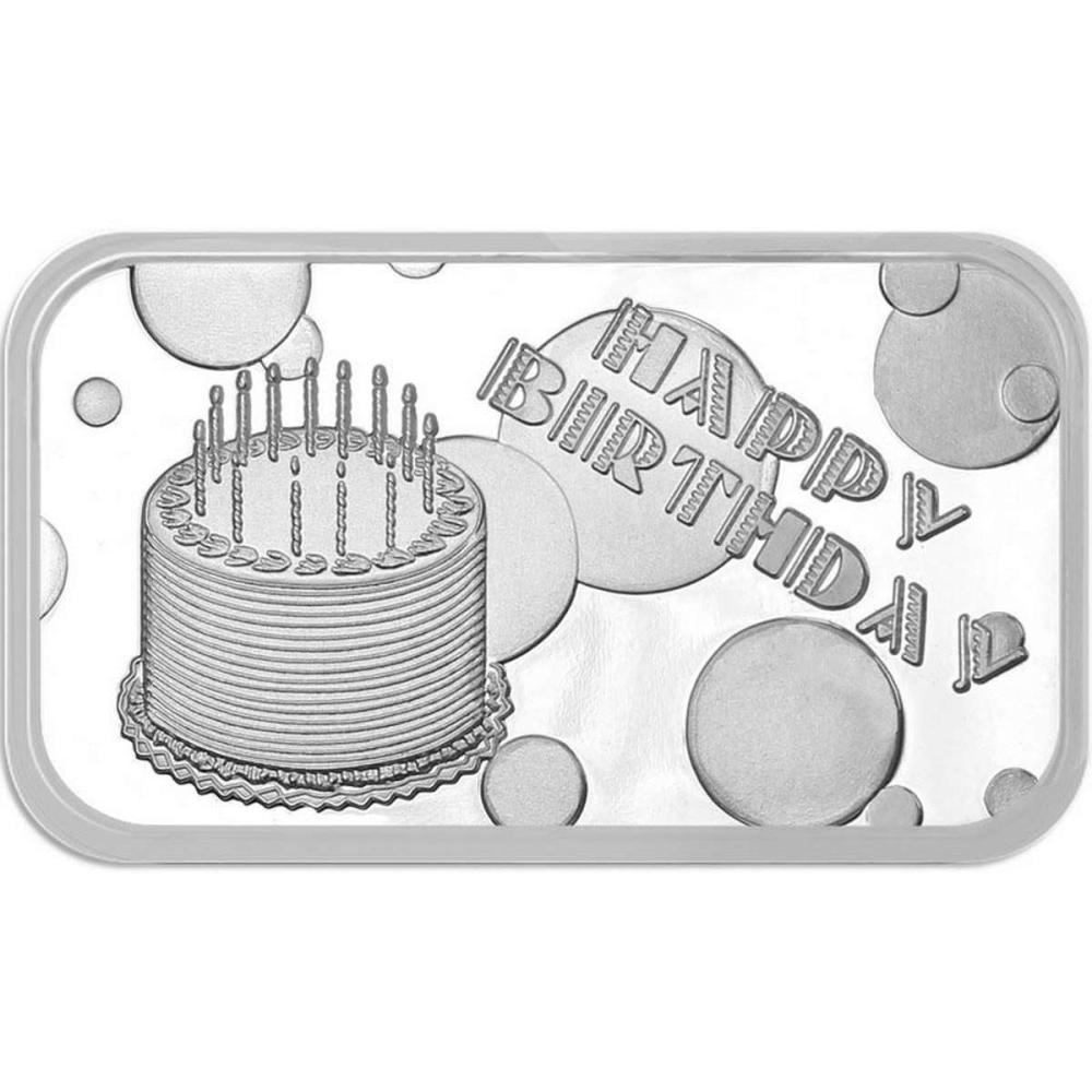 Happy Birthday Cake 2019 .999 Silver 1 oz Bar #1AC96612