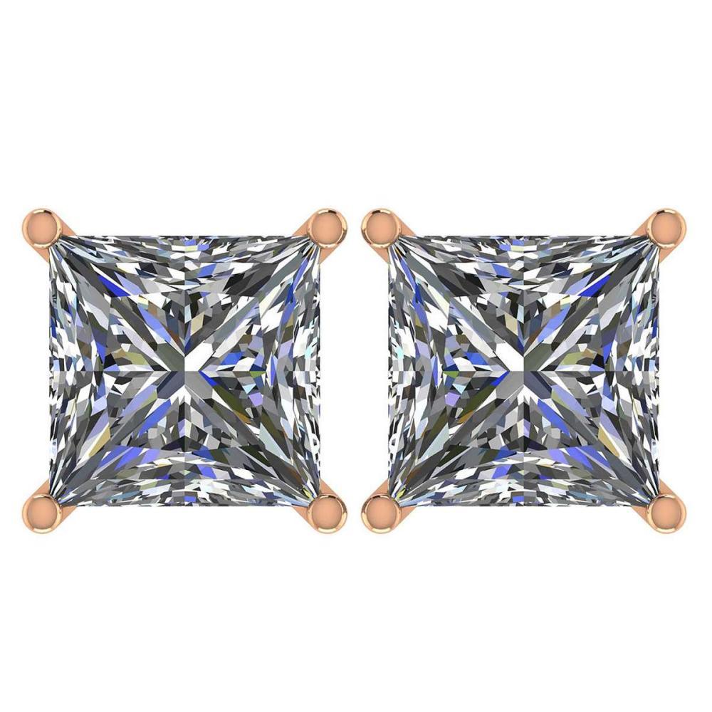 Certified 2.50 Ctw Diamond 14K Rose Gold Stud Earring #1AC97362