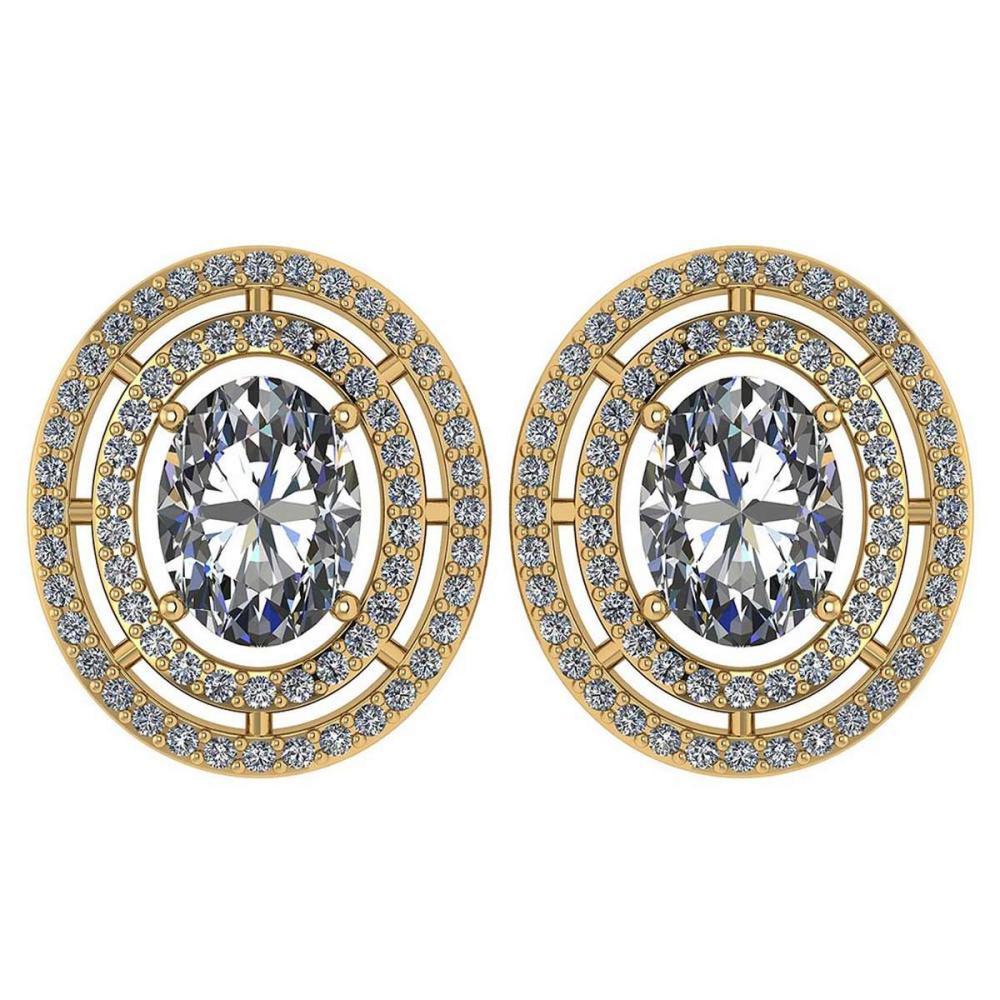 Certified 3.12 CTW Diamond 14k Yellow Gold Halo Stud Earrings #1AC98751