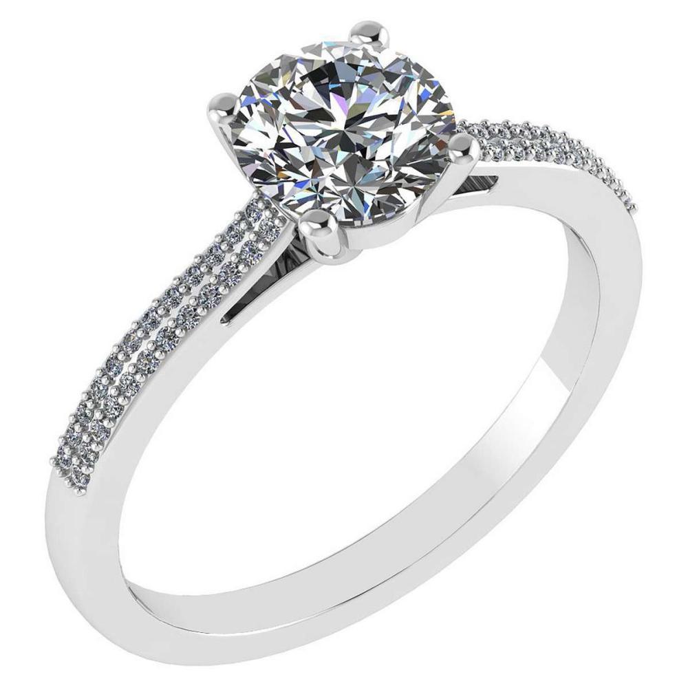 Certified 1.37 Ctw Diamond 14k White Gold Halo Ring #1AC97371