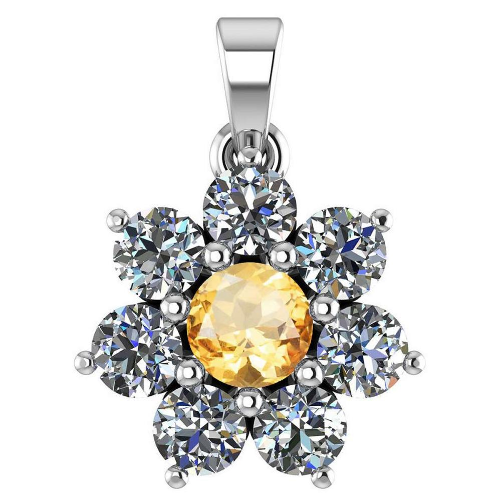 Certified 0.93 Ctw Citrine And Diamond 14k White Gold Halo necklace VS/SI1 #1AC97409