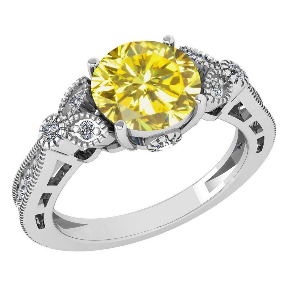 Certified 1.51 Ctw Treated Fancy Yellow Diamond 14K White Gold Halo Ring #1AC15833