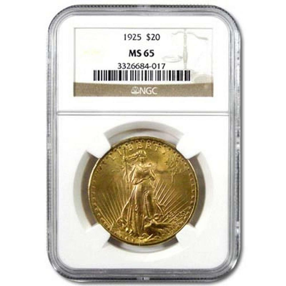 Certified $20 St Gaudens MS65 (Dates Our Choice) PCGS or NGC #1AC84515