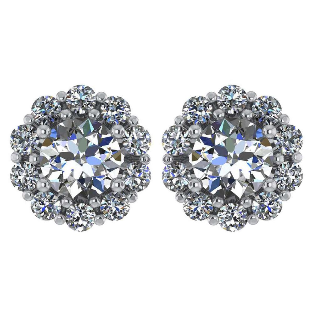 Certified 2.30 Ctw Diamond 14k White Gold Halo Stud Earring #1AC97368