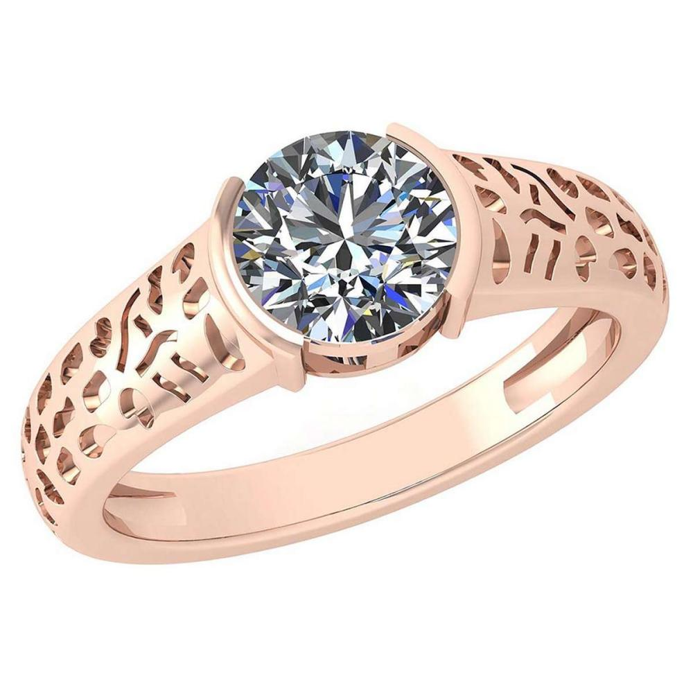 Certified 1.25 Ctw Diamond Halo Ring For Engagement New Expressions love collection 14K Rose Gold (I1/I2) #1AC19234