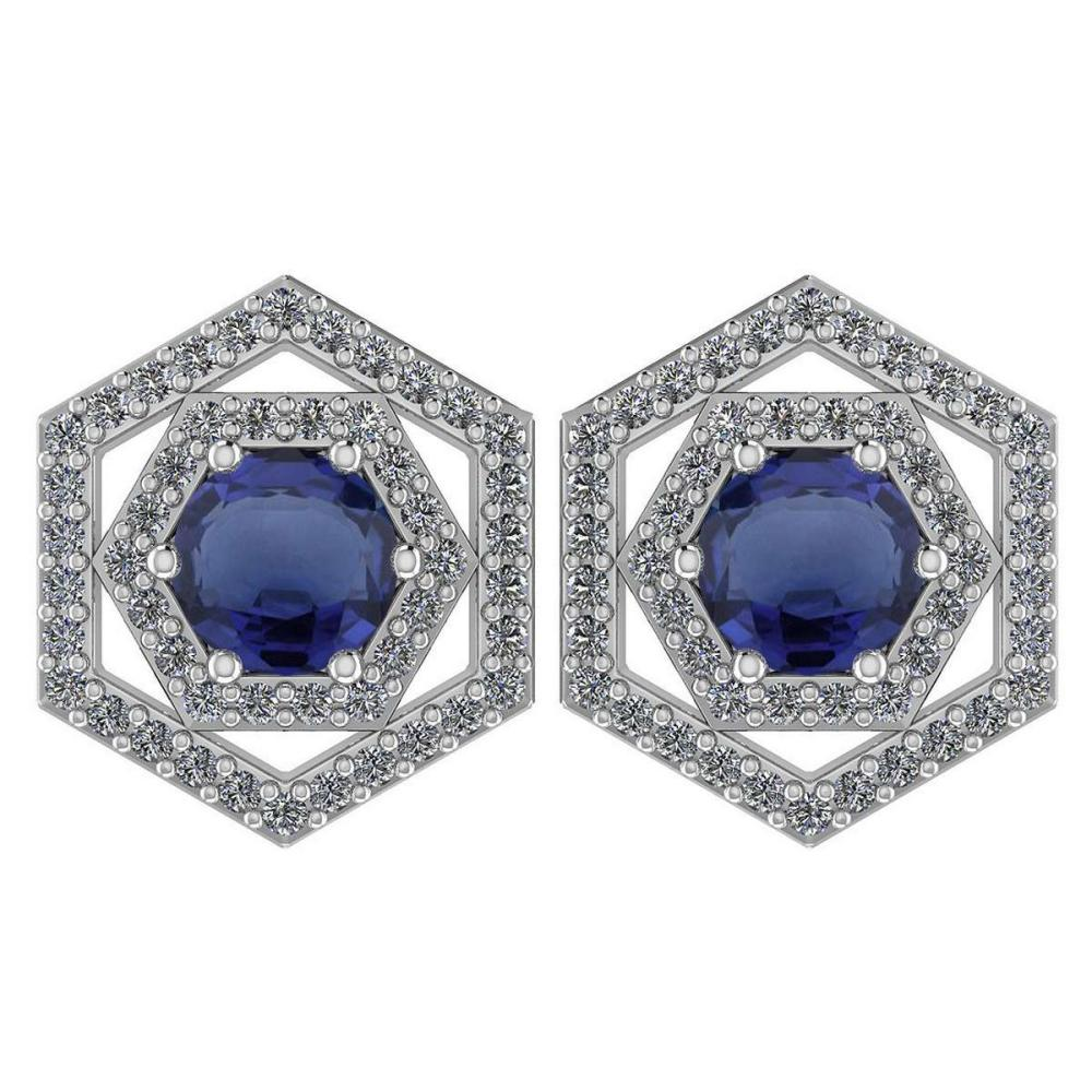 Certified 1.38 Ctw Blue Sapphire And Diamond 14k White Gold Halo Stud Earrings #1AC97537