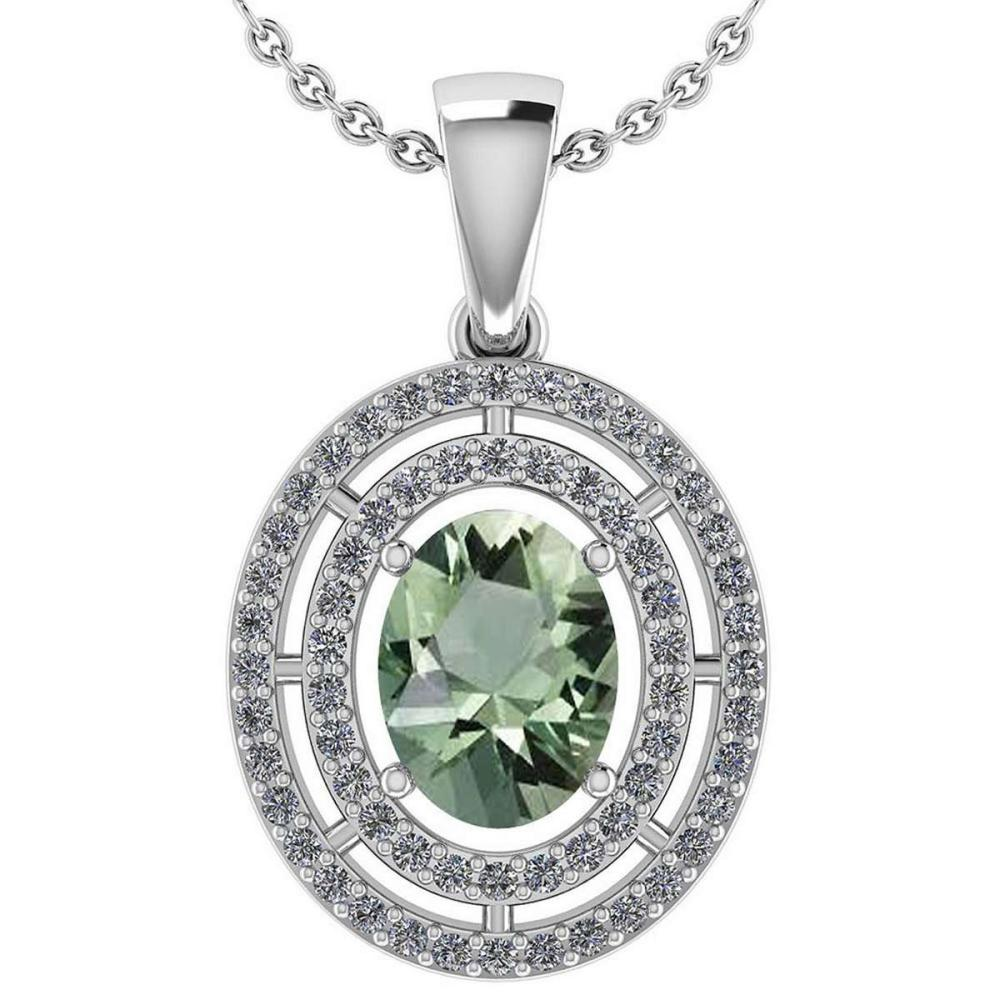 Certified 1.56 CTW Green Amethyst And Diamond 14k White Gold Halo Pendant #1AC98487
