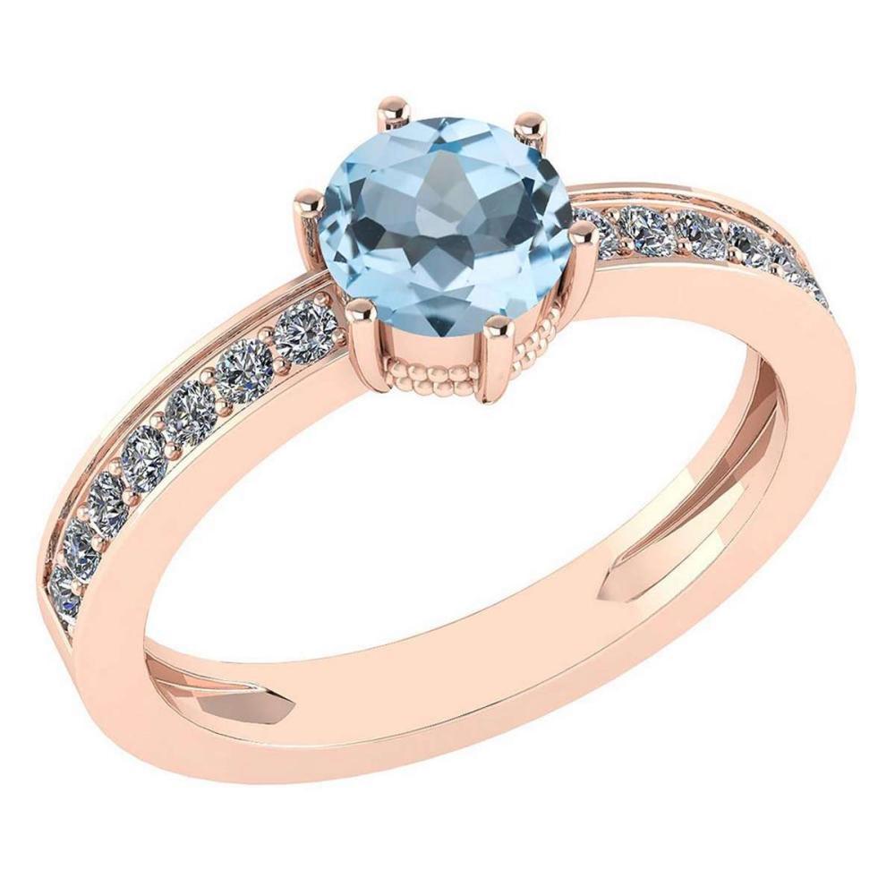 Certified 1.09 Ctw Aquamarine And Diamond Wedding/Engagement Style 14K Rose Gold Halo Ring (VS/SI1) #1AC18677