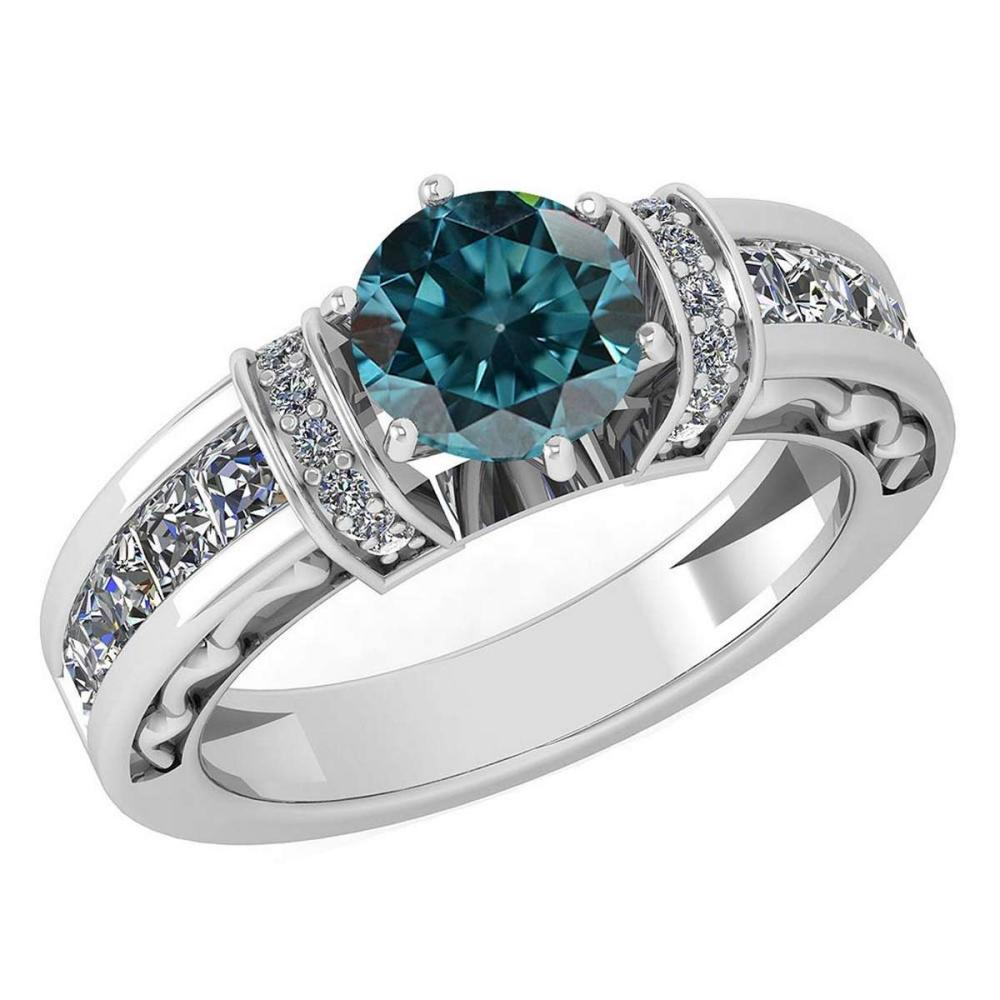 Certified 2.15 Ctw Treated Fancy Blue Diamond And White Diamond 14K White Gold Halo Ring (SI2/I1) #1AC18637