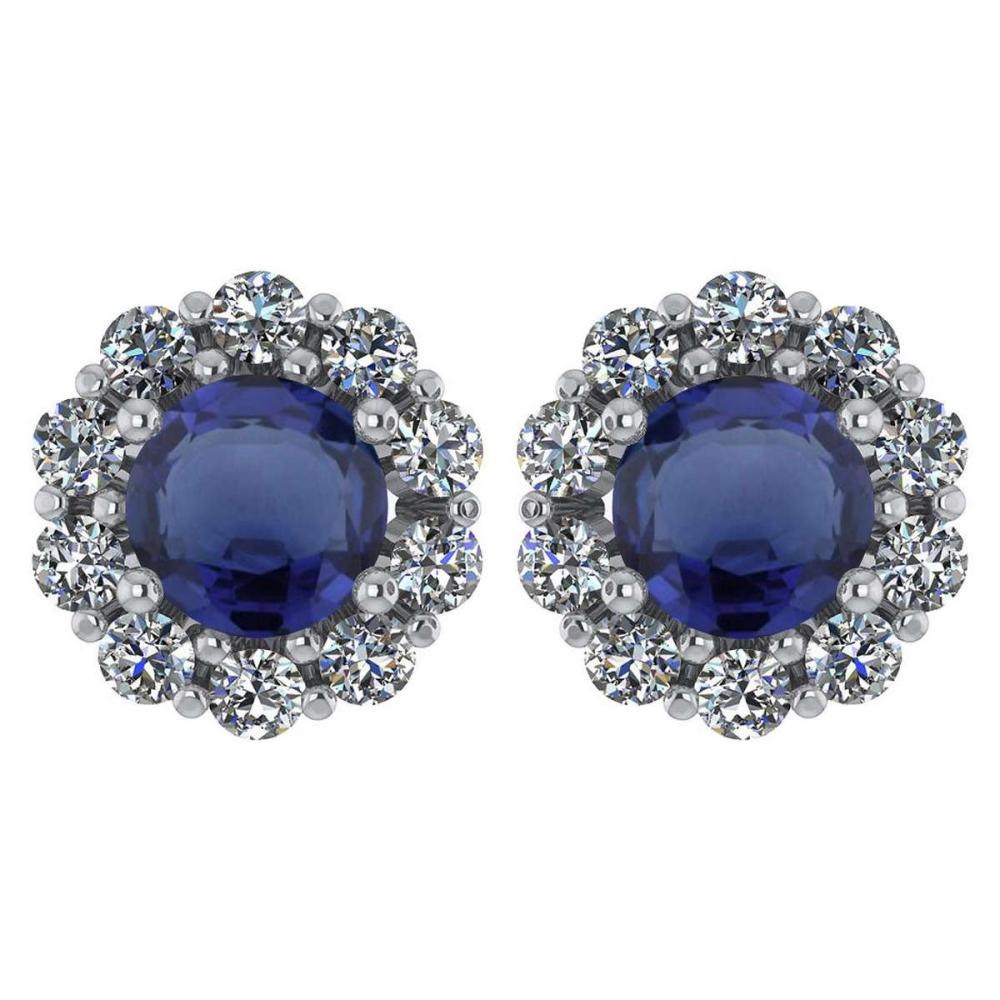 Certified 2.30 Ctw Blue Sapphire And Diamond 14k White Gold Halo Stud Earrings #1AC97227