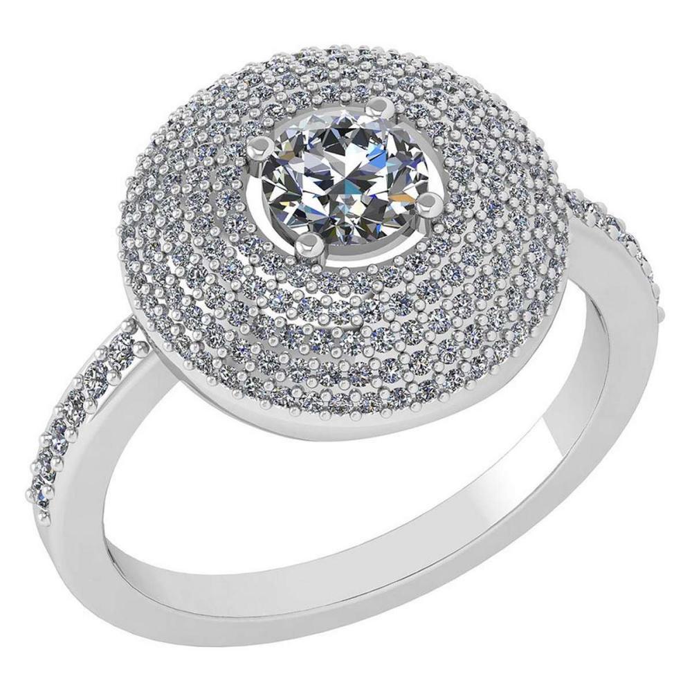 Certified 0.99 CTW Diamond 14k White Gold Halo Ring #1AC98758