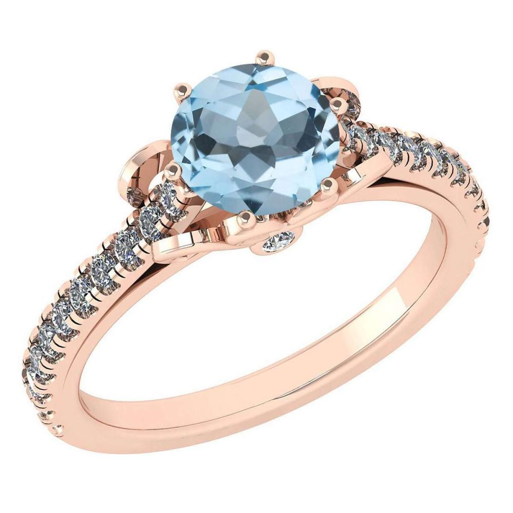 Certified 1.58 Ctw Aquamarine And Diamond 14k Rose Gold Halo Ring (SI2/I1) #1AC18444
