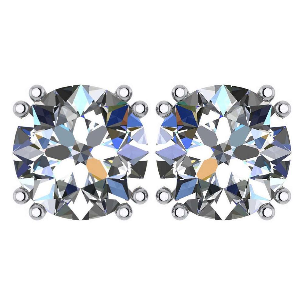 Certified 2.00 Ctw Diamond 14K White Gold Stud Earring #1AC97363