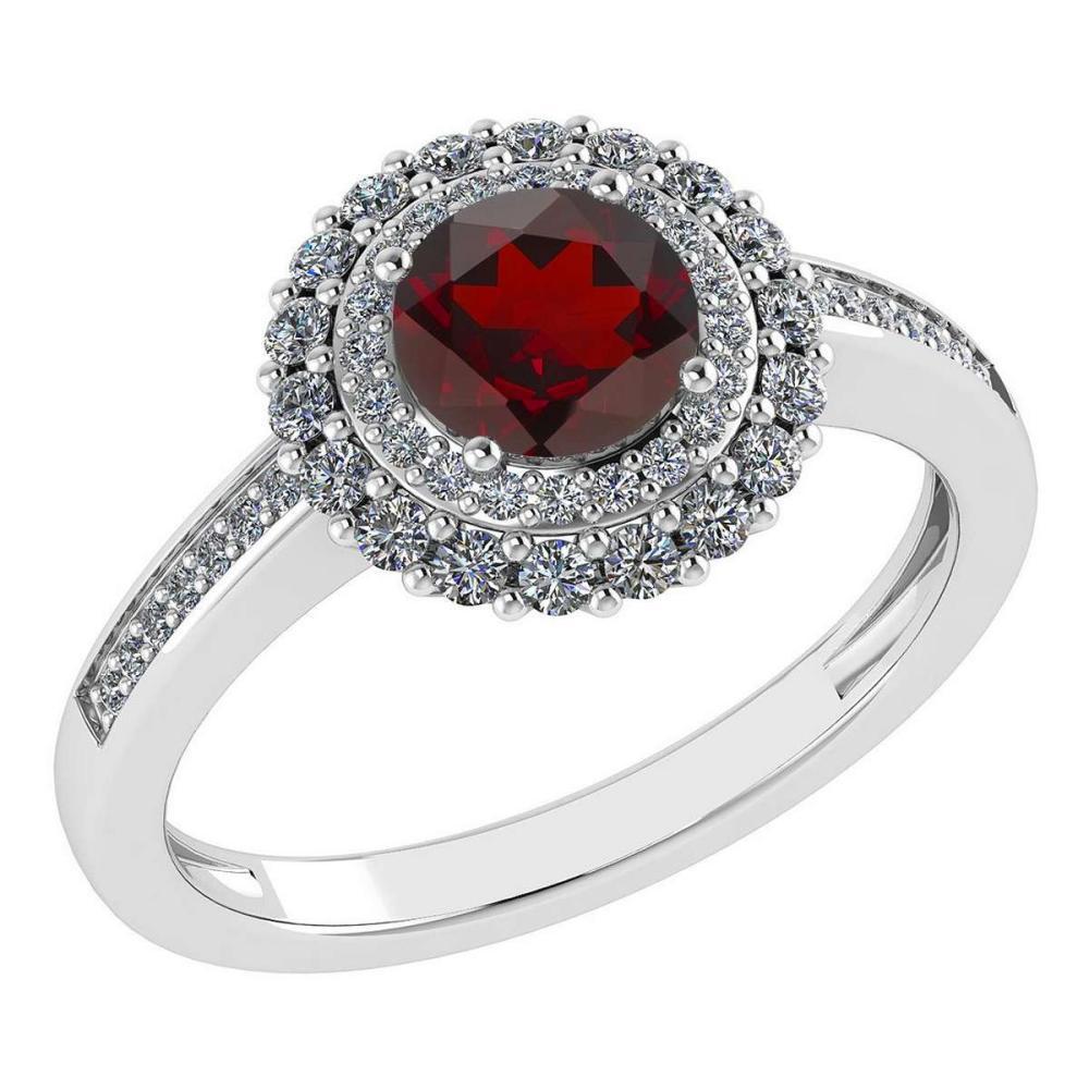 Certified 1.28 Ctw Garnet And Diamond 14k Yellow Gold Halo Ring (VS/SI1) #1AC18487
