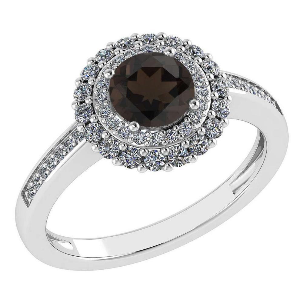 Certified 1.28 Ctw Smoky Quarzt And Diamond 14k Yellow Halo Gold Ring (VS/SI1) #1AC18486