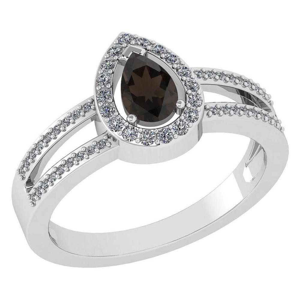 Certified 0.74 CTW Smoky Quarzt And Diamond 14k White Gold Halo Ring #1AC98687