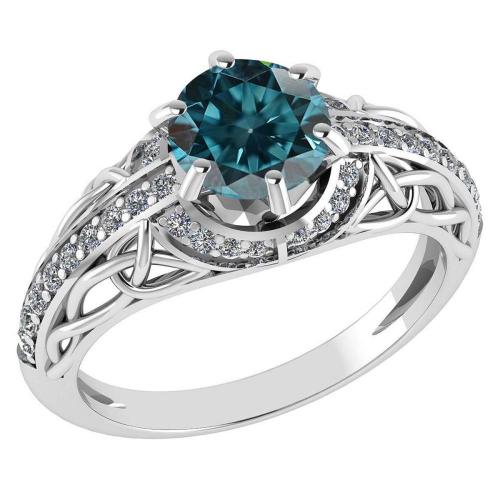 Certified 1.43 Ctw Treated Fancy Blue Diamond And White Diamond 14k White Gold Halo Ring (I1/I2) #1AC18447