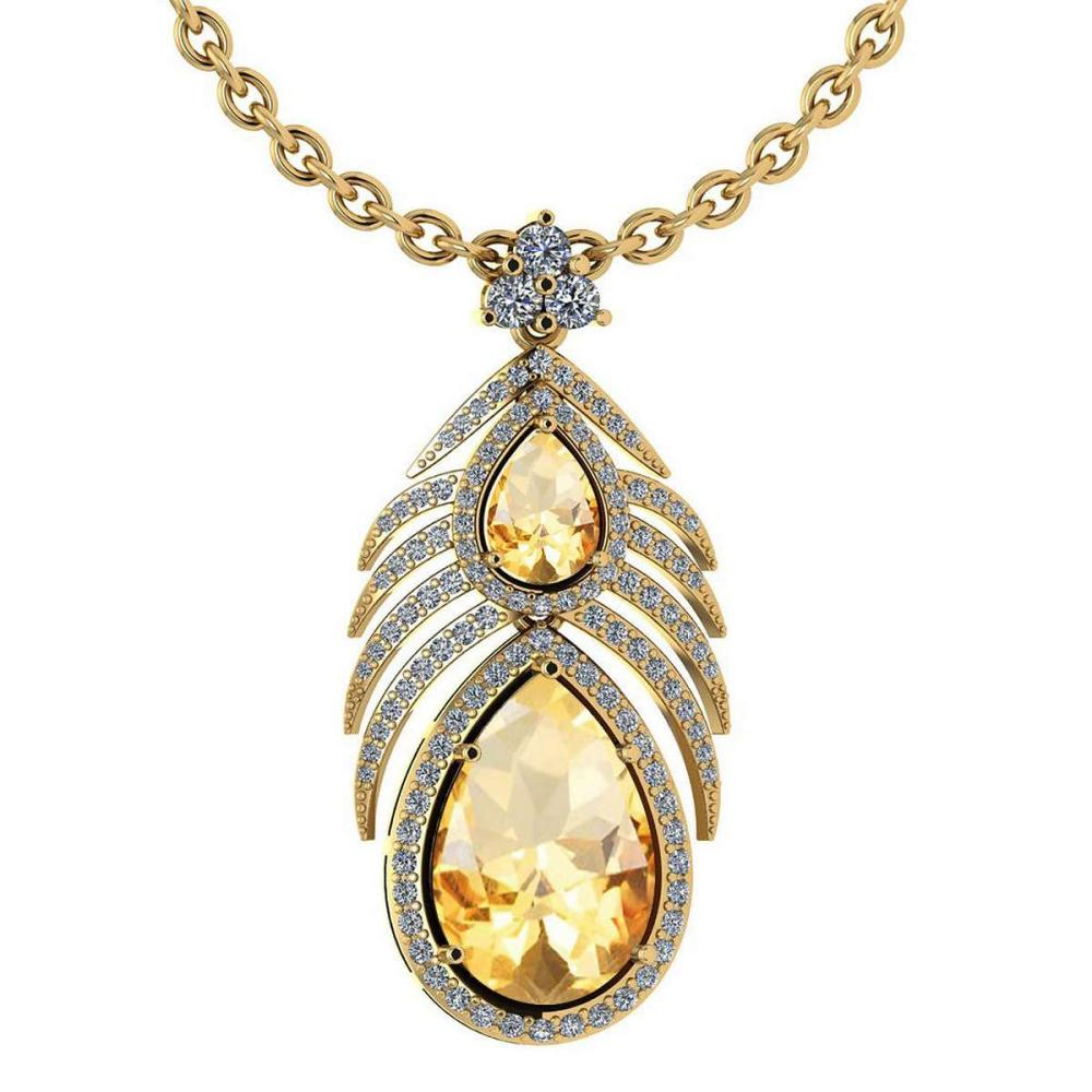 Certified 7.50 Ctw Citrine And Diamond Pear shape For womens Necklace 14K Yellow Gold (SI2/I1) #1AC18389