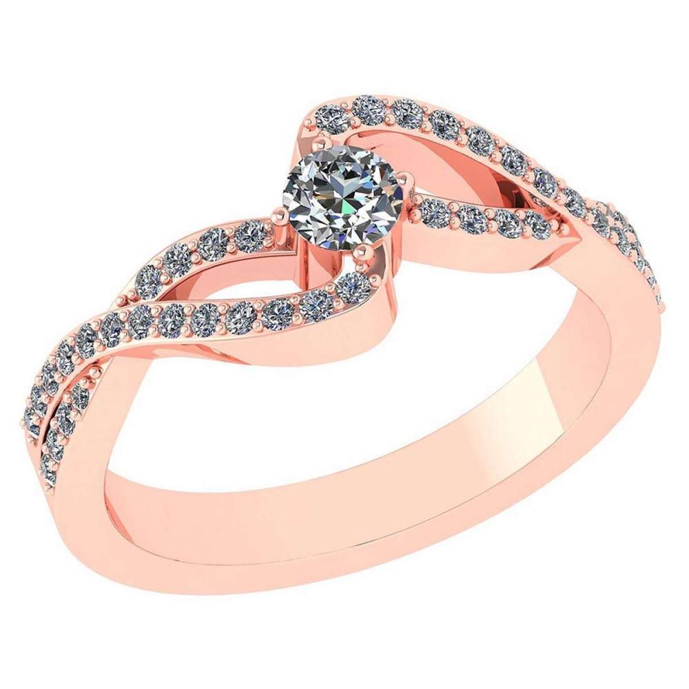 Certified 0.61 CTW Diamond 14k Rose Gold Halo Ring #1AC98753