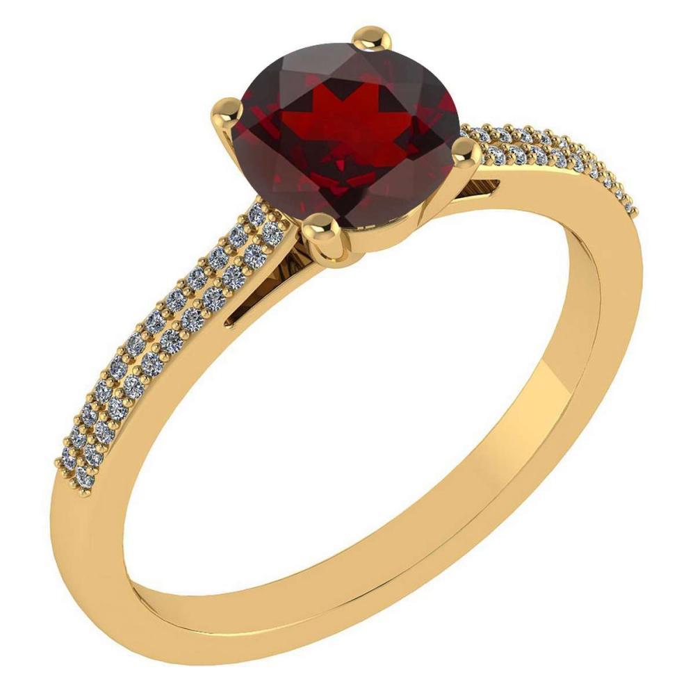 Certified 1.37 Ctw Garnet And Diamond 14k Yellow Gold Halo Ring #1AC97287