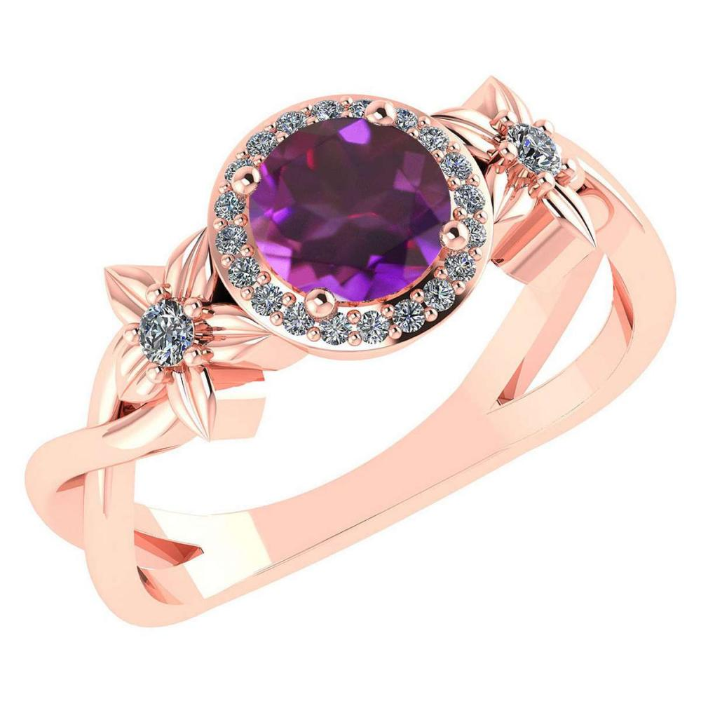 Certified 1.00 Ctw Amethyst And Diamond 14k Rose Gold Halo Ring (VS/SI1) #1AC18512