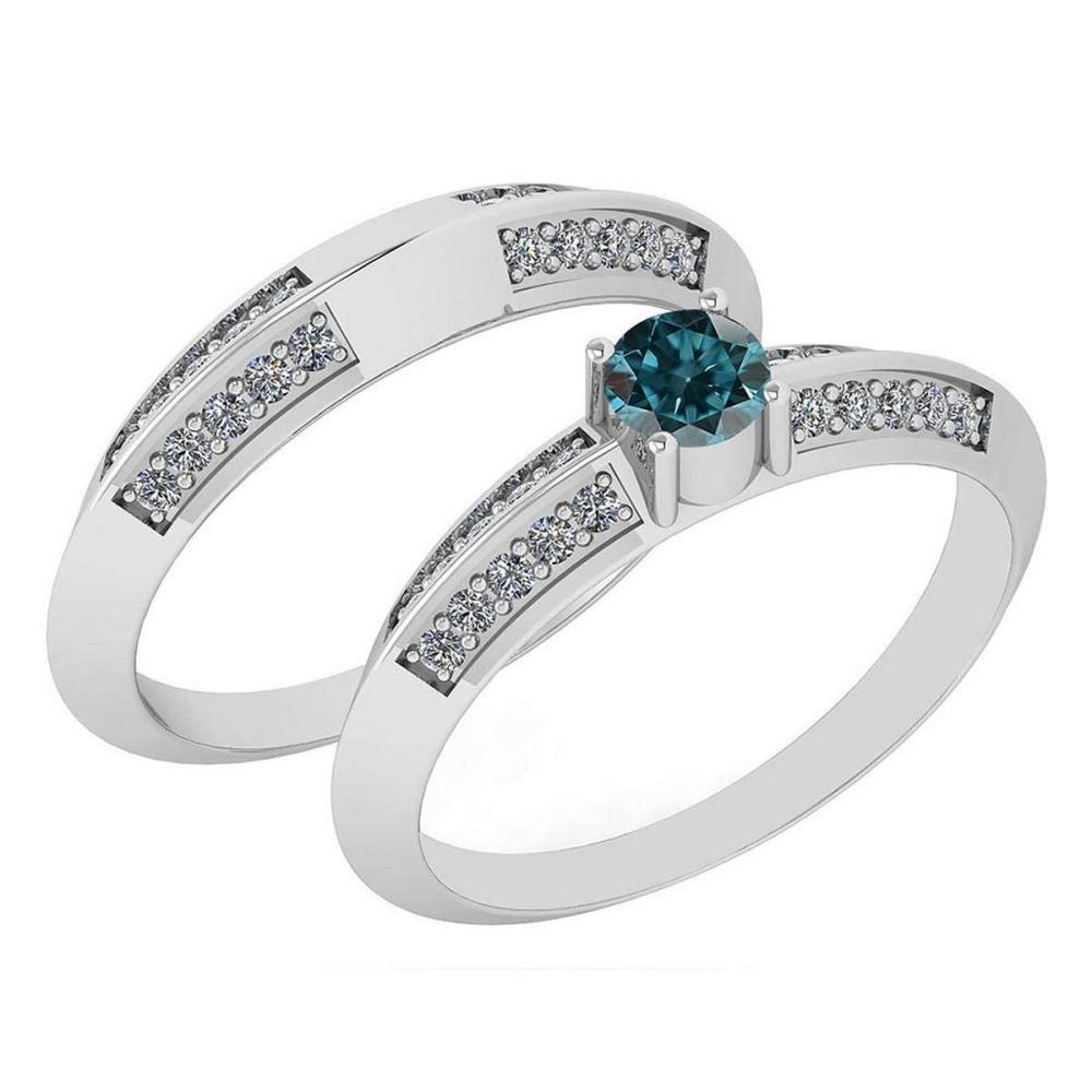 Certified .55 Ctw Treated Fancy Blue Diamond And White Diamond Wedding/Engagement Style 14K White Gold Halo Ring (SI2/I1) #1AC18695