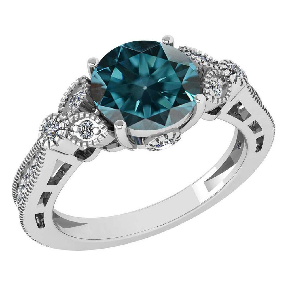 Certified 1.51 Ctw Treated Fancy Blue Diamond 14K White Gold Halo Ring #1AC15834