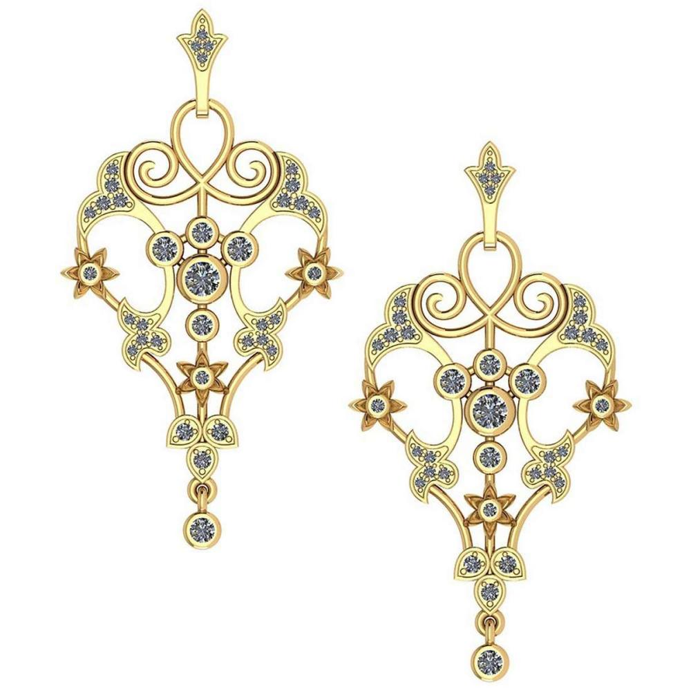 Certified 0.54 Ctw Diamond Hanging Stud Earring New Collection 14K Rose Gold (VS/SI1) #1AC19208