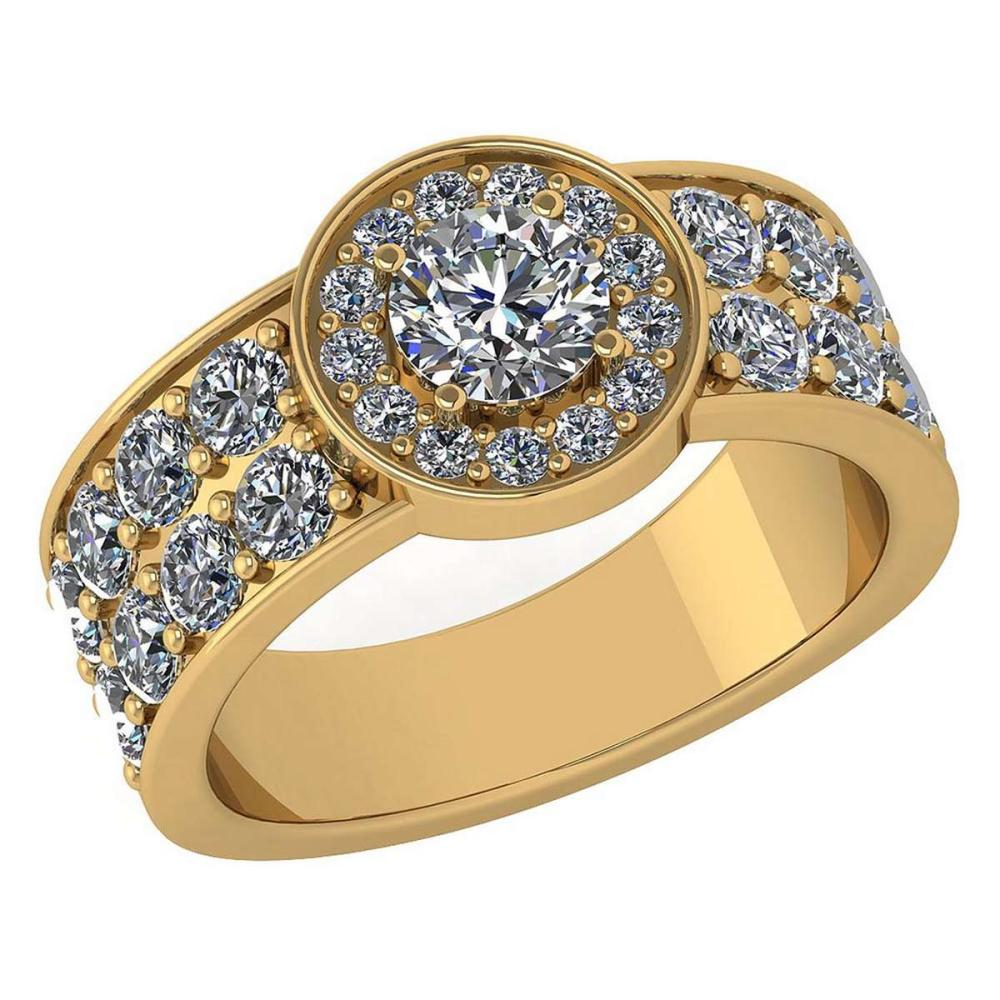 Certified 1.92 Ctw Diamond Halo Ring For Engagement New Expressions love collection 14K Yellow Gold (VS/SI1) #1AC19232