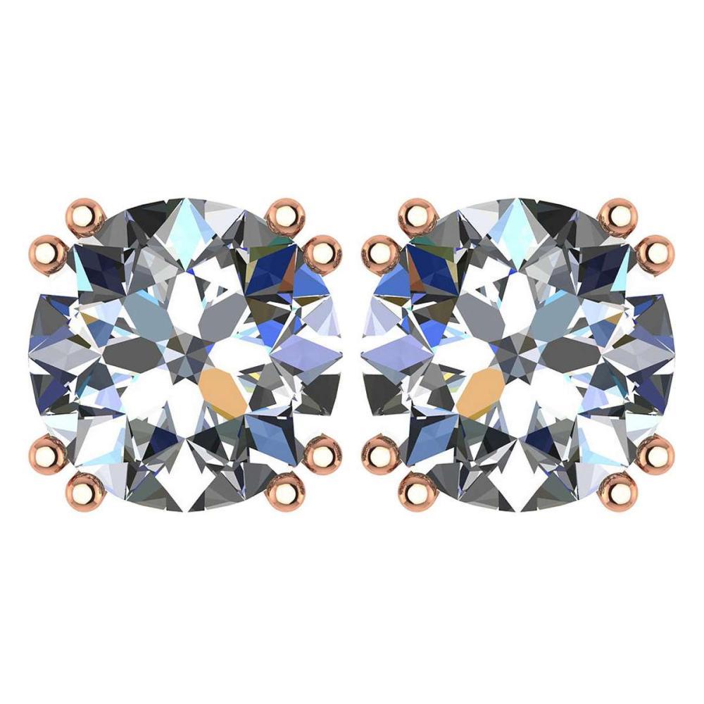 Certified 2.00 Ctw Diamond 14K Rose Gold Stud Earring #1AC97364