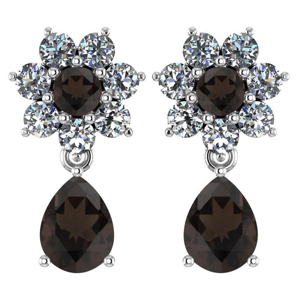 Certified 4.86 Ctw Smoky Quarzt And Diamond 14k White Gold Dangling Earrings #1AC97477