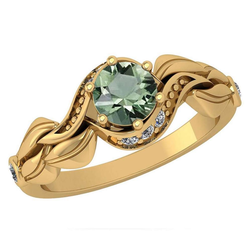 Certified 0.78 Ctw Green Amethyst And Diamond Wedding/Engagement Style 14K Yellow Gold Halo Ring (VS/SI1) #1AC18756