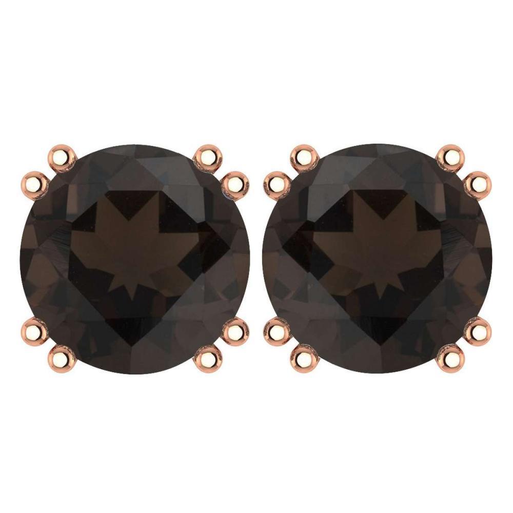 Certified 6.00 Ctw Genuine Smoky Quarzt 14K Rose Gold Stud Earrings #1AC97213