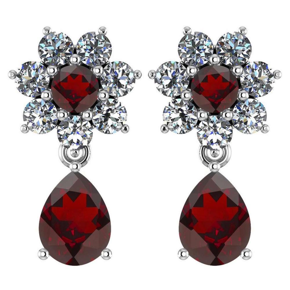 Certified 4.86 Ctw Garnet And Diamond 14k White Gold Halo Dangling Earrings #1AC97476