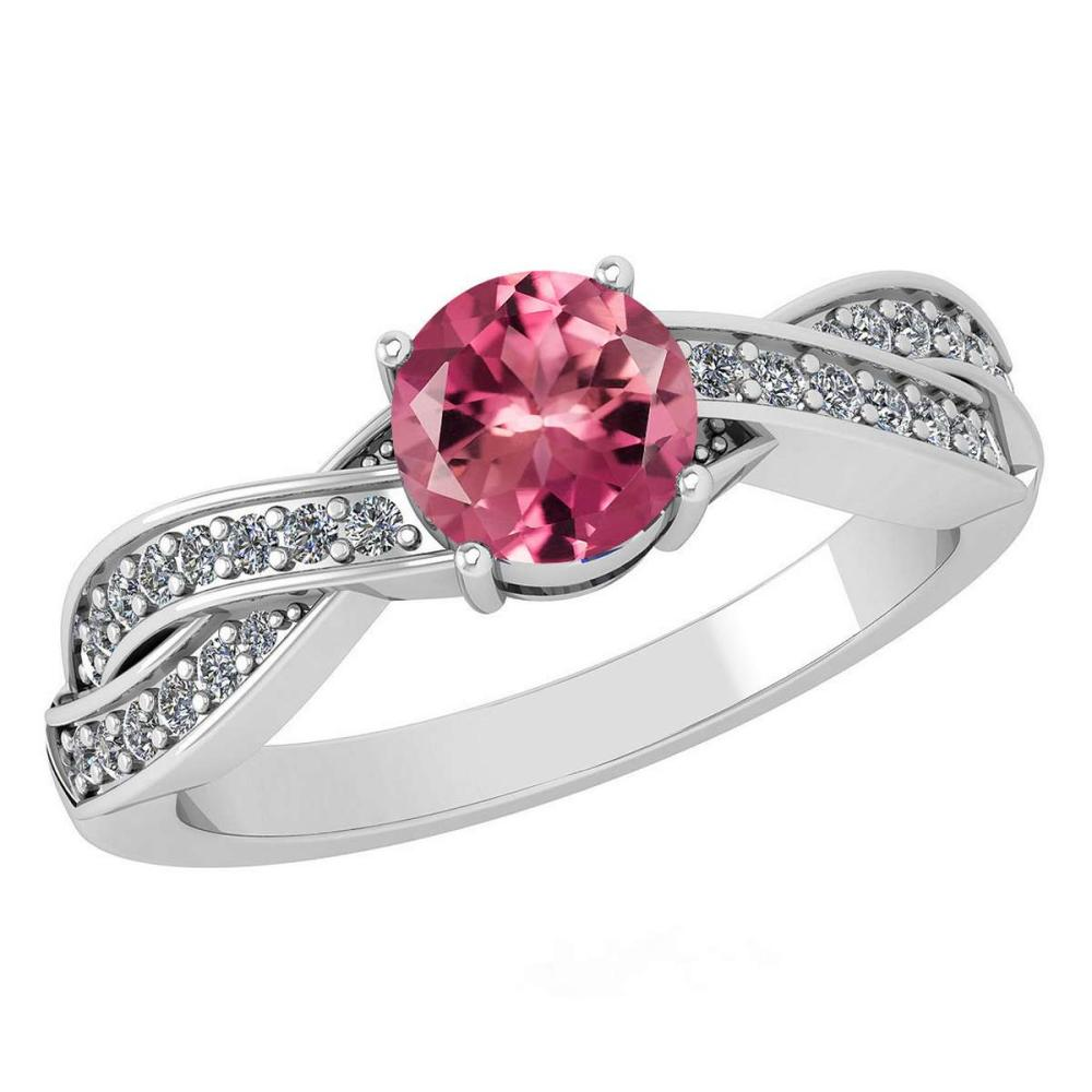 Certified 1.05 Ctw Pink Tourmaline And Diamond 14k White Gold Halo Ring (SI2/I1) #1AC18425