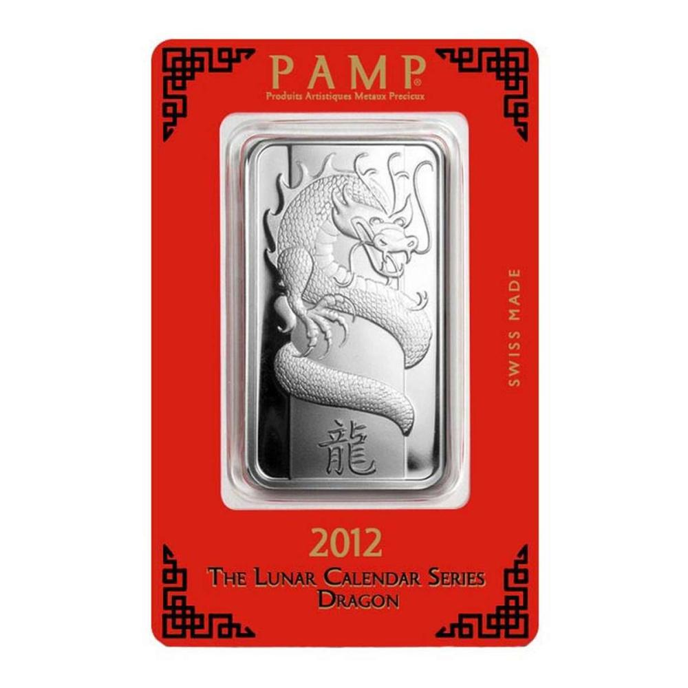 PAMP Suisse Silver Bar 1 oz - 2012 Dragon Design #1AC96598