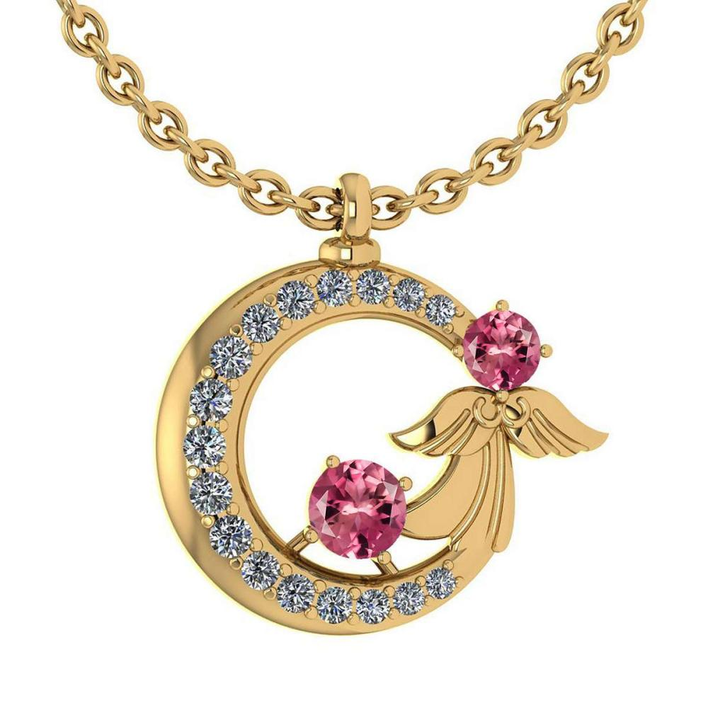 Certified 1.14 Ctw Pink Tourmaline And Diamond Tiny Angel Necklace For womens New Expressions love collection 14K Yellow Gold (SI2/I1) #1AC18408