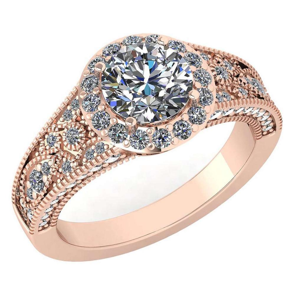 Certified 1.89 Ctw Diamond Halo Ring For Engagement/Wedding New Expressions love collection 14K Rose Gold (SI2/I1) #1AC19237