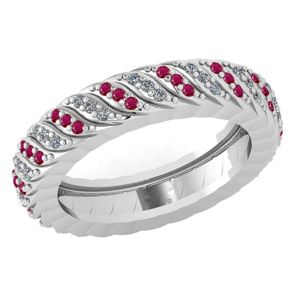 Certified 0.52 Ctw Ruby And Diamond 14k Yellow Gold Halo Band #1AC15855