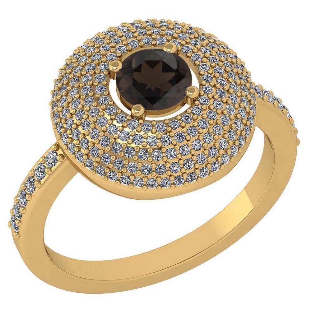 Certified 0.99 CTW Smoky Quarzt And Diamond 14k Yellow Gold Halo Ring #1AC98621