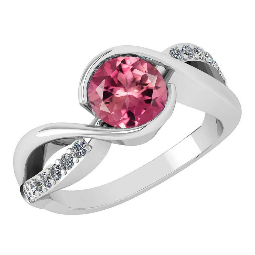 Certified 1.44 Ctw Pink Tourmaline And Diamond 14k White Gold Halo Ring (SI2/I1) #1AC18369