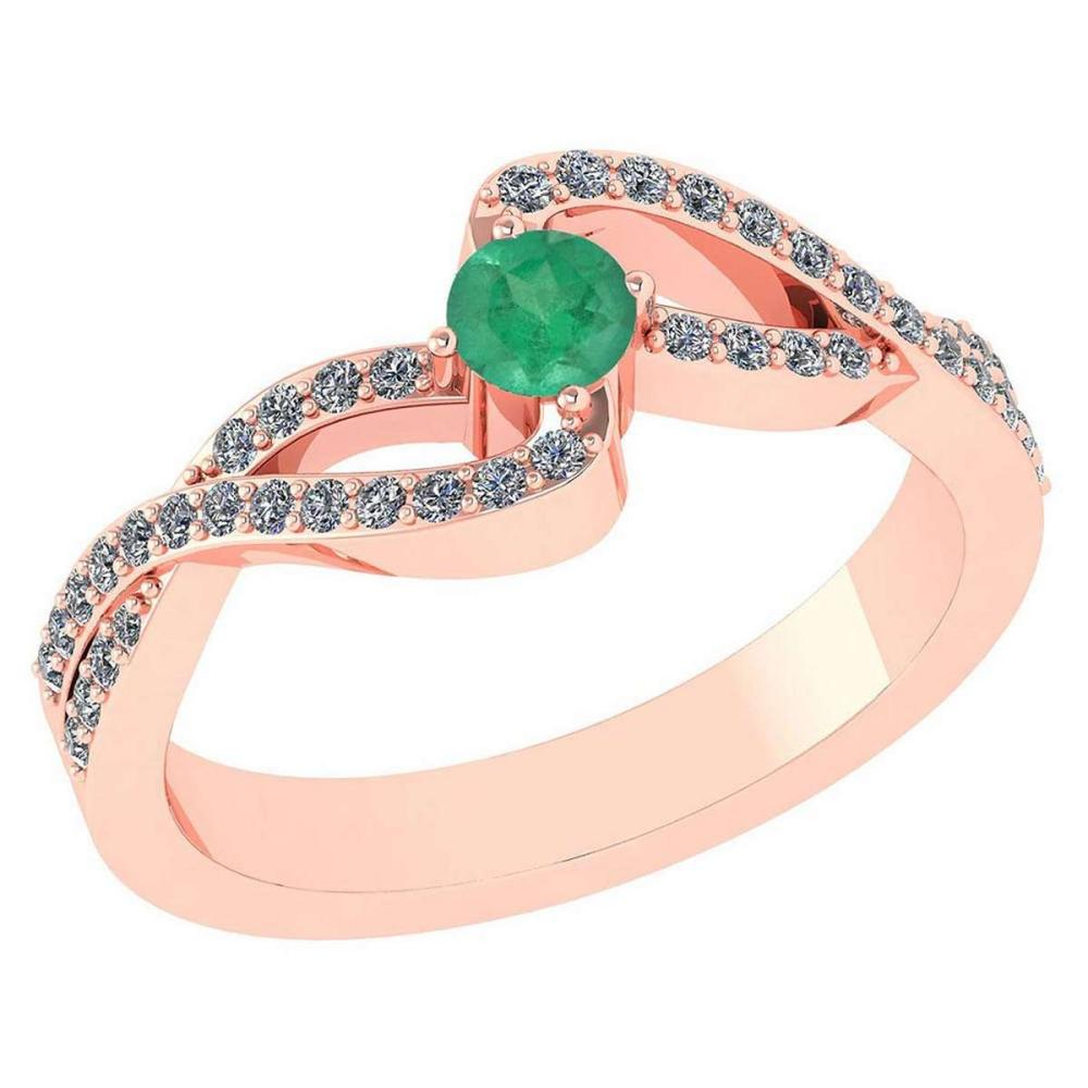 Certified 0.61 CTW Emerald And Diamond 14k Rose Gold Halo Ring #1AC98558