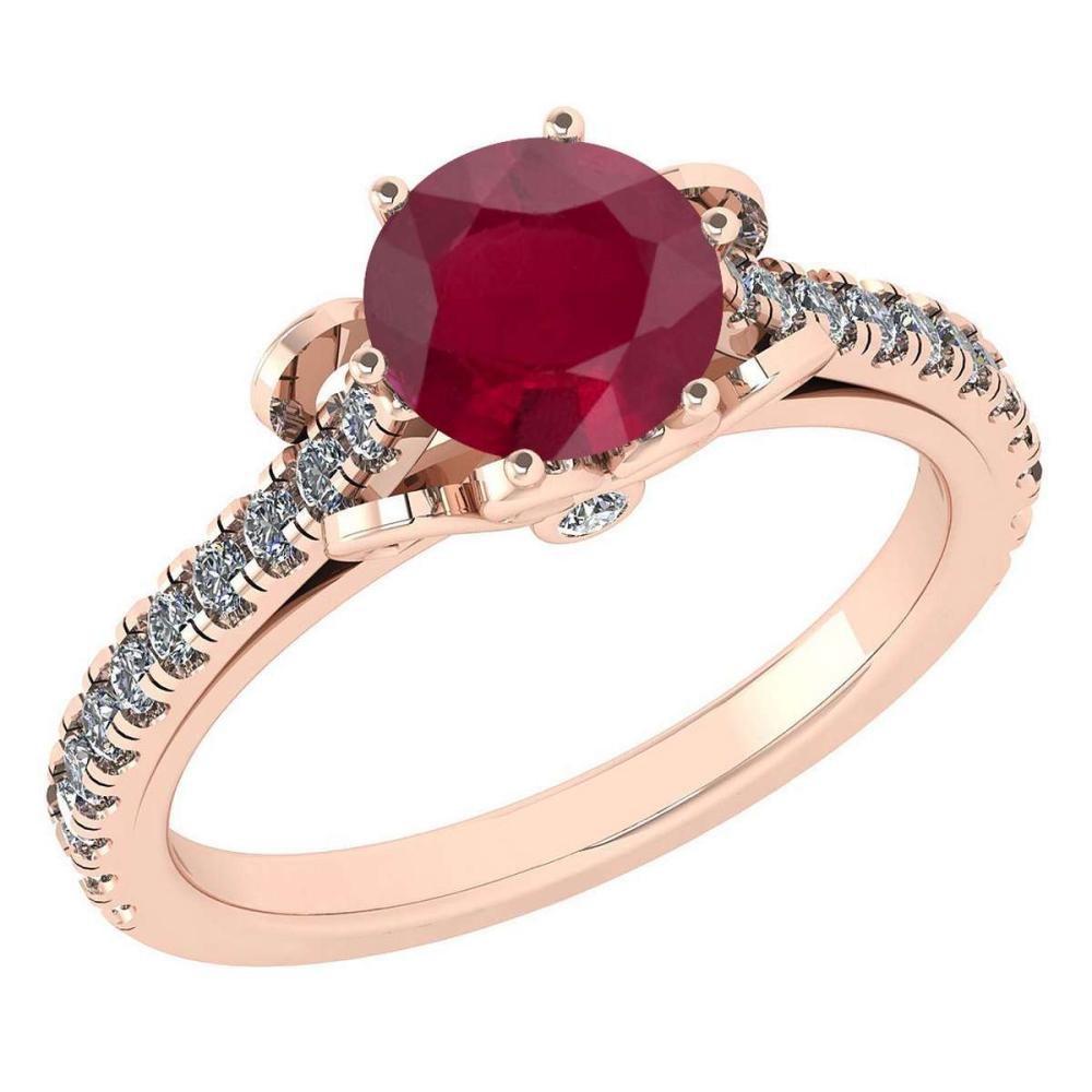 Certified 1.58 Ctw Ruby And Diamond 14k Rose Gold Halo Ring (SI2/I1) #1AC18445