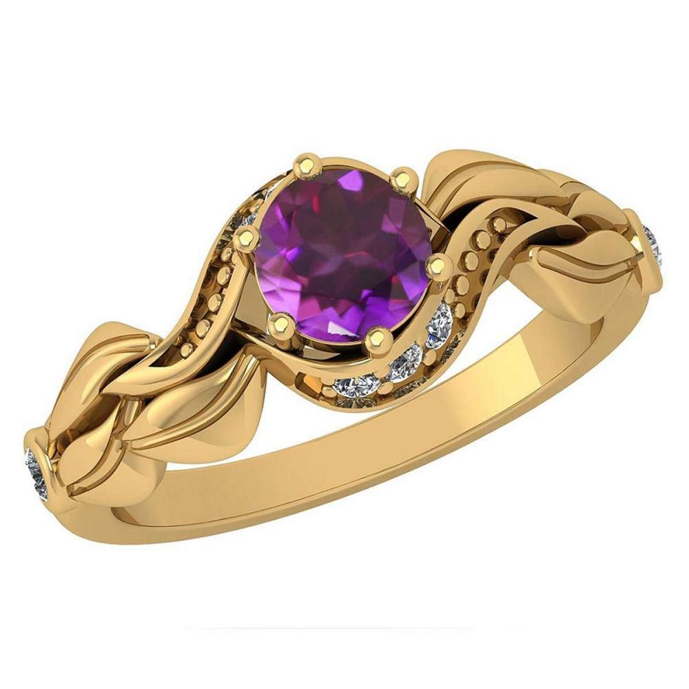 Certified 0.78 Ctw Amethyst And Diamond Wedding/Engagement Style 14K Yellow Gold Halo Ring (VS/SI1) #1AC18755