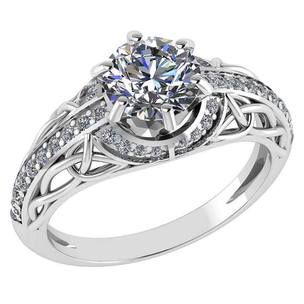 Certified 1.43 Ctw Diamond Halo Ring For Engagement New Expressions love collection 14K White Gold (SI2/I1) #1AC19224