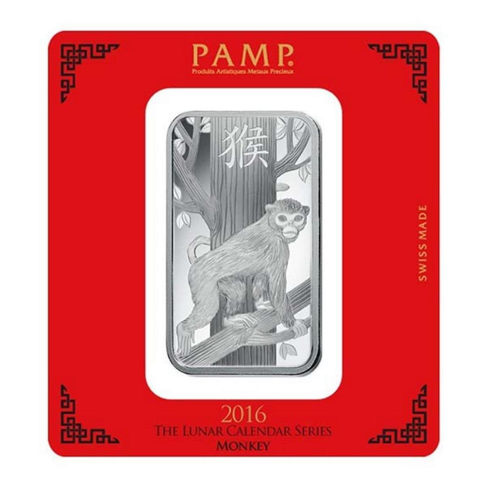 PAMP Suisse Silver Bar 100 Gram - 2016 Monkey Design #1AC96600