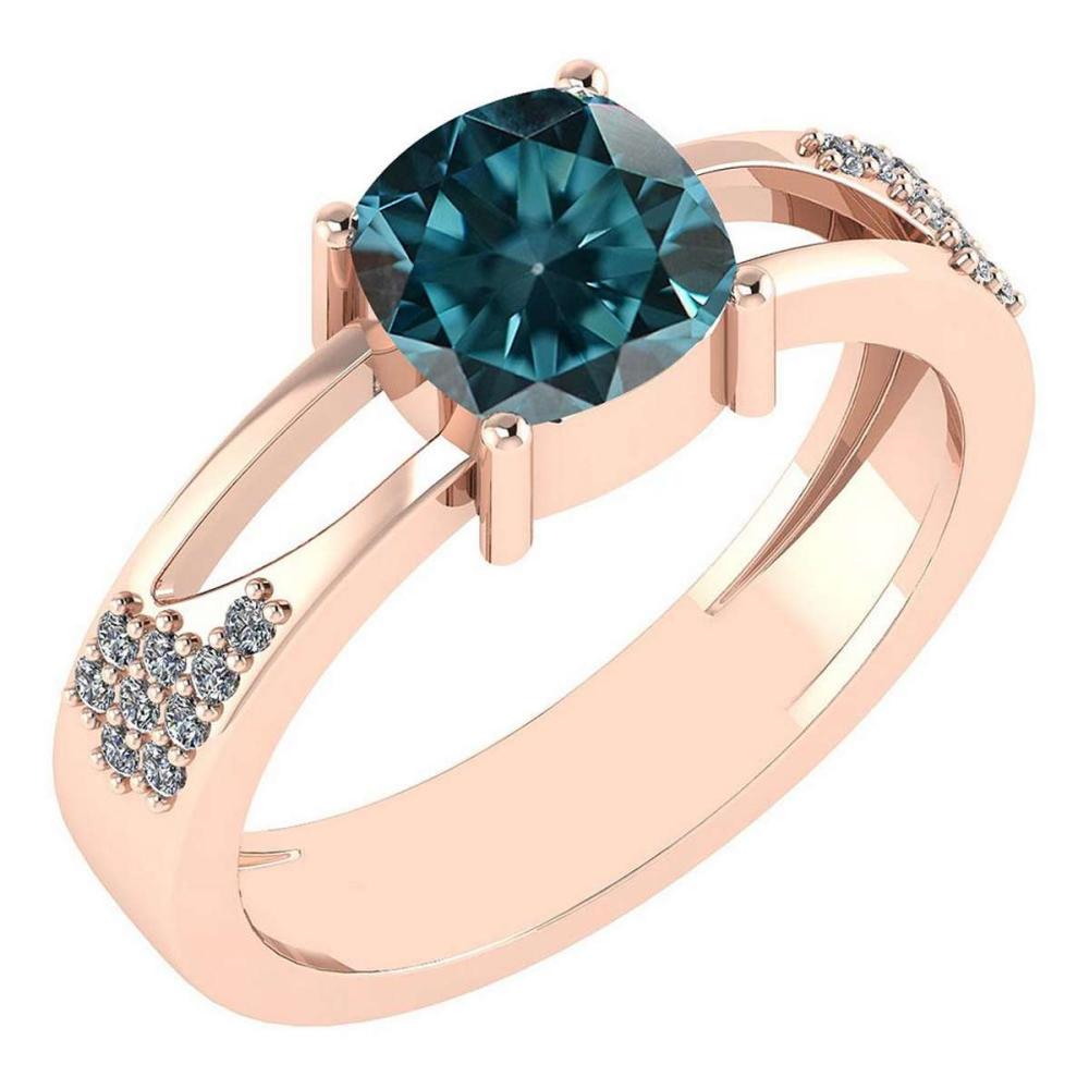 Certified 1.14 Ctw Treated Fancy Blue Diamond And White Diamond 14K Rose Gold Halo Ring (VS/SI1) #1AC18576